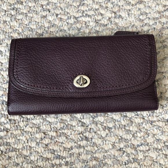 Coach Handbags - Coach purple leather wallet